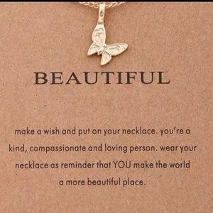 Jewelry - Beautiful  butterfly Make a wish necklace